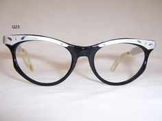 85fd1d0473 Classic 1950s Black Silver Vintage Cat Eye Glasses - Vintage Eyewear - Dead  Men s Spex