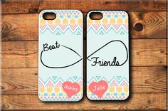 iPhone 4 iPhone 4S 2 Cases Personalized Aztec Pattern Best friends Forever BFF personalized Protective Case FREE Screen Protector Included