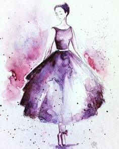 (notitle) – My drawing stuff Watercolor Fashion, Watercolor Paintings, Vestidos Anime, Cool Drawings, Drawing Stuff, Ballet Art, Anime Comics, Watercolour Tutorials, Diy Canvas Art