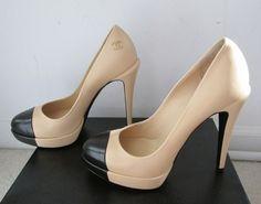 Chanel Black Cap Toe Platform Pumps Shoes