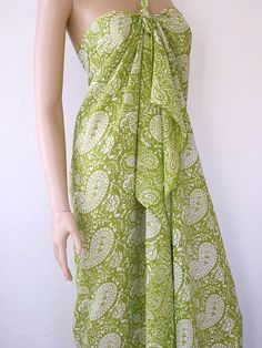 2fdaca176d Lime Green Sarong Beach Cover up Pareo Wrap by silkzdesign on Etsy