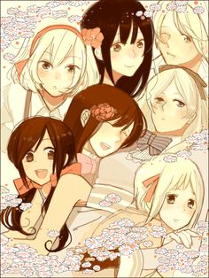 Hetalia girls!  Belgium, Vietman, Ukrain, Belarus, Taiwan, Seychelles, and Liechsteins Art by zan