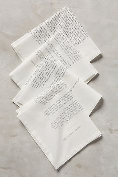 Love Letter Napkins #anthropologie Maybe get custom made from our own.