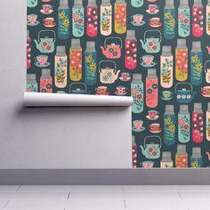 Kitchen Wallpaper  Tea Thermos / Vintage Tea Florals Teapot