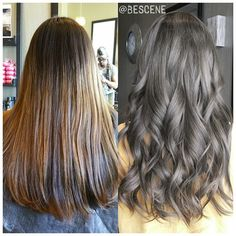 *TRANSFORMATION* to CHARCOAL BROWN! My client booked an appointment while on a business trip to DC from ✈ Los Angeles! She wanted an intense ash brown with a hint of grey and no warm tones whatsoever. I used @Schwarzkopfusa igora royal 6-32, E-1 7vol after prelightening to achieve this beautiful grey toned brown. Styled by my assistant @maayanbescene #BESCENE
