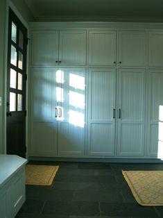 New Ideas Wall Storage Cabinets Built Ins Doors Floor To Ceiling Cabinets, Home, Slate Flooring, Mud Room Storage, House, Mudroom Lockers, Mudroom Design, Wall Storage, Laundry Room Storage