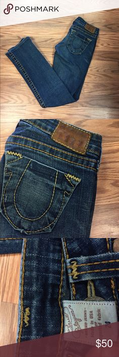 True Religion Denim jeans with light brown stitching detail Jeans