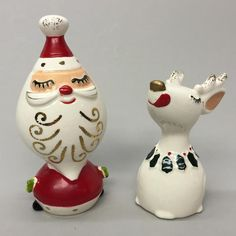 Vintage NAPCO Santa & Reindeer Christmas Salt & Pepper S&P Shaker Set SFX 4581