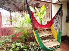 Red Yellow and Green Rasta Sitting Hammock, Hanging Chair Natural Cotton and Wood. $39.00, via Etsy.