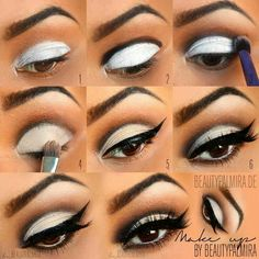 Eyes, Eye Makeup, Eye Shadow, Eye Liner, Eyeliner, Winged, Cat Eye, White Eyelids, Black Eye Crease, False Lashes, Fake Lashes
