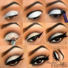 Eyes, Eye Makeup, Eye Shadow, Eye Liner, Eyeliner, Winged, Cat Eye, White Eyelids, Black Eye Crease, False Lashes, Fake Lashes