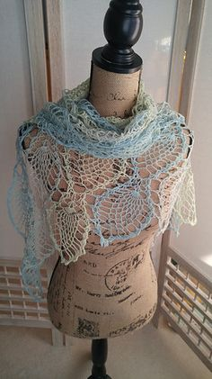 Crochet Sea Glass Waves Shawl Scarf by AriadnesCrochetDream