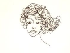 Art wire wall sculpture Woman - My thoughts whisk around
