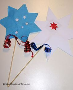 Cute star fairy wands for Australia Day. Crafts For My 2 Aussie Fairies.