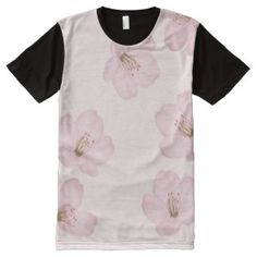 Watercolor Powder Pink Cherry Blossoms Panel Shirt