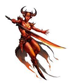 Female Efreeti Sorzan - Pathfinder PFRPG DND D&D d20 fantasy