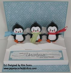 Paper Punch Addiction: Dancing Penguins Pop Up Stage. Like the feet pointing up like they are dancing Pop Up Cards, Xmas Cards, Cute Cards, Holiday Cards, Noel Christmas, Handmade Christmas, Christmas Crafts, Fancy Fold Cards, Folded Cards