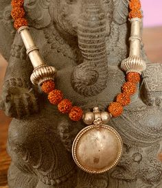 Rudraksha Tribal Old Silver Beads Necklace by CosmicNorbu on Etsy, $140.00
