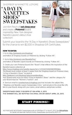 Show us your best Nanette Lepore inspiration board and you could win $2,500 in Shopbop gift certificates! Visit http://www.shopbop.com/ci/4/lp/nanette-lepore-sweepstakes.html for full details!