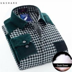 Men Warm Thick Duck Down Green Plaid Shirt Winter Fleece Casual Shirts Fashion Long Sleeve Thickening Flannel Shirt Male