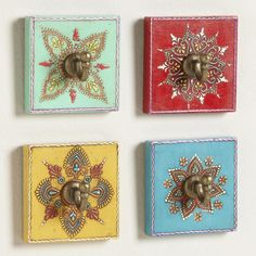 Assorted Painted Square Hooks, Set of 4   World Market