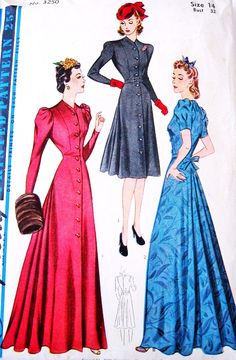 BEAUTIFUL 1930s Dress, Hostess Gown or Evening Coat Pattern SIMPLICITY 3250 Front Button  Back Flared Regular or Evening Length Bust 32 Vintage Sewing Pattern