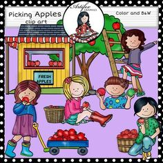 *50% off for the first 48 hours*Picking apples clip art set features 20 items…