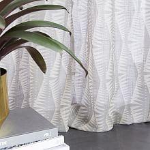 Abstract Leaf Curtain Pair Green Teal Blue Cream Heavy