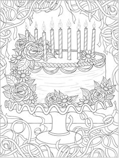 Welcome to Dover Publications - CH Happy Birthday! Food Coloring Pages, Printable Coloring Pages, Coloring Sheets, Coloring Books, Free Adult Coloring, Coloring Pages For Kids, Happy Birthday Coloring Pages, Scrapbook, Dover Publications