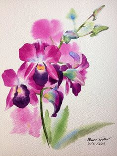 Orchid - Paintings by Ti Watercolor - Orchidee Watercolor Artists, Watercolor And Ink, Watercolor Illustration, Watercolour Painting, Watercolor Flowers, Art Floral, Beautiful Paintings Of Flowers, Orchid Drawing, Leaf Wall Art