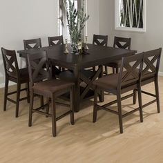 Stylish table, perfect for the holidays, by Jofran Rectangle Square Counter Height Dining Set, Morgan Espresso