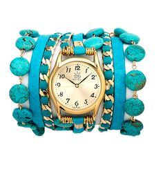 Turquoise and Leather Wrap Watch