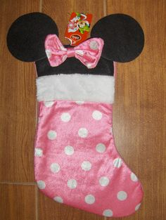New Disney Minnie Mouse Stocking With Ears Pink Bow Christmas 16 Long Christmas Ornament Crafts, Ornaments, Christmas Stockings, Ears, Minnie Mouse, Bow, Holiday Decor, Disney, Pink