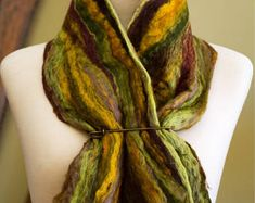 Emerald Forest Earth Tones Merino Wool and Tussah Silk Cowl Collar Neck Warmer Felt Scarf Textile Art Wearable Art Gift for Her Unique