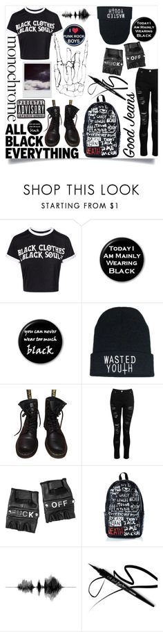"""All Black Everything"" by bezaliel ❤ liked on Polyvore featuring Dr. Martens, Dorothy Perkins, Funk Plus, Haculla, Polaroid, monochrome, alternative and allblack"