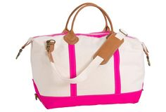 Buggy Designs Pink Monogram Weekender Bag is a perfect travel bag, gym bag and tote! The stylish Canvas and leather duffle is available in lots of colors! Canvas Weekender Bag, Duffel Bags, Preppy Monogram, Look Chic, Canvas Leather, Just In Case, Purses And Bags, Satchel, Hot Pink