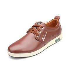 Leather Men's Flat Heel Comfort Oxfords Shoes With Lace-up(More Colors)