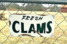 FRESH CLAMS Sign Old Rustic Vintage Style HAND PAINTED Ocean Beach Fish Market #SignsbyPierce Vintage Signs For Sale, Vintage Style, Vintage Fashion, Clams, Ocean Beach, Hand Painted, Fish, Rustic, Country Primitive