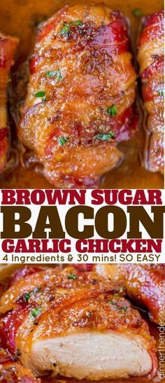 Bacon Brown Sugar Garlic Chicken, the best chicken you'll ever eat with only 4 ingredients. Sticky, crispy, sweet and garlicky, the PERFECT weeknight meal. Bacon Brown Sugar Garlic Chicken is a recipe Frango Bacon, Weeknight Meals, Easy Meals, Good Meals, Meals For Two, Brown Sugar Bacon, Brown Sugar Chicken, 4 Ingredient Recipes, Turkey Recipes
