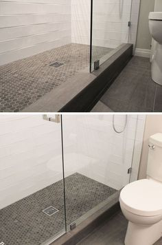 Bathroom Tile Ideas - Grey Hexagon Tiles | Small grey hexagonal tiles on the floor of this shower are in slightly different shades to add depth to the floor, and they work well with the grey tile on the rest of the floor of the bathroom.