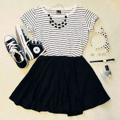 Black and white top black skirt and converse :) summer outfit