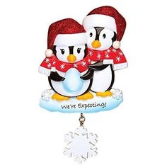 Penguins Personalized Christmas Tree Ornament (We're Expecting)