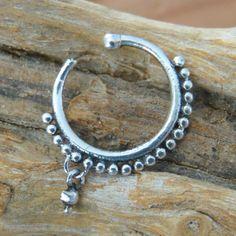 Fake Nose Ring - Faux Nose Ring - Fake Nose Hoop - Faux Nose Hoop - Fake Piercing - Faux Piercing - Fake Nose Piercing - Nose Jewelry  Beuatiful sterling silver fake nose ring.  Inner diameter - 7mm $15