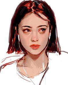 """Photo study I drew in April. Digital Painting Tutorials, Digital Art Tutorial, Art Tutorials, Digital Portrait, Portrait Art, Digital Art Girl, Pretty Art, Cute Art, Art Sketches"