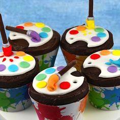 paint palette artist cupcakes