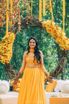 Your wedding day holds so much importance in life .and your haldi ceremony is no lesser! Haldi ceremony is very important pre-wedding r. Mehndi Outfit, Mehndi Dress, Sangeet Outfit, Indian Wedding Planning, Indian Wedding Outfits, Bridal Outfits, Indian Weddings, Indian Outfits, Engagement Outfits