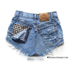 Runwaydreamz : Jett Vintage Frayed Studded Shorts ($100-200) ❤ liked on Polyvore featuring shorts, bottoms, pants, short, runwaydreamz shorts, frayed shorts, vintage studded shorts, short shorts and vintage shorts
