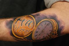 vintage-gold-stopwatch-arm-tattoo by Jon von Glahn - This was a fun one done on one of my best friends it is his great grandpas pocket watch with his Arm Tattoo, Metal Tattoo, Pocket Watch Tattoos, Armani Watches For Men, Touch Of Gold, Golden Color, Dream Catcher, Tatting, Piercings