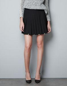 BOX PLEAT SKIRT WITH METALLIC DETAILING @ZARA