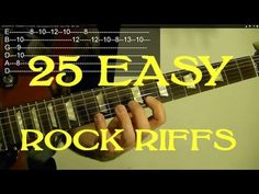 Learn 25 of the most awesome guitar riffs ever! Easy guitar lesson with tabs.